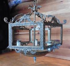 Brass Chandelier Pendant light hexagon fixture NO Glass Salvage Vintage ... - $148.50