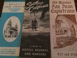 3 Vintage CA California Brochures Hearst San Simeon Old Mission Hotels R... - $4.49