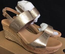 UGG Australia Womens Elena Wedge Platform Sandal Gold Metallic 1017802 Cork Jute - $79.99