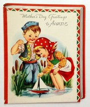 Unused Vintage Card Volland Mother's Day to Auntie Children and Sailboat - $12.86