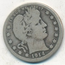 1914-S BARBER SILVER QUARTER-SEMI KEY DATE-NICE CIRCULATED QUARTER-FREE ... - $134.95