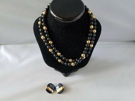Monet Vintage Signed Earrings & Napier Necklace Beaded Gold Tone Enamel - $55.79