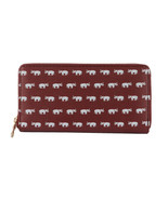 Elephant Print Zip Around Wallet Clutch Purse Alabama Bama Crimson Roll ... - $17.81