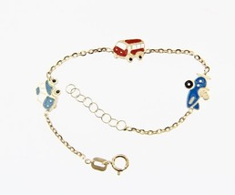 18K YELLOW GOLD BRACELET FOR KIDS WITH CAR PLANE SHUTTLE MADE IN ITALY  5.5 IN image 1