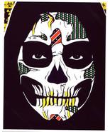Grim Reaper skull guy original art print Day Of The Dead mexican folk ar... - $8.99