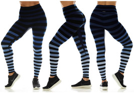 K-Deer Women's Blue/Black/Grey Emme Stripe Sneaker Length Leggings, XS-4X