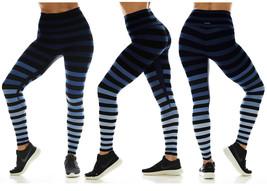 K-Deer Women's Blue/Black/Grey Emme Stripe Sneaker Length Leggings, XS-4X