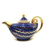 Vintage Hall Aladdin Swag Teapot Marine Blue with Infuser Gold Label Tea... - $148.49