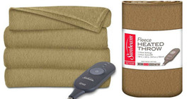 Sunbeam Electric Heated Fleece Throw Blanket Warm Cozy Soft Tan Beige - $39.98 CAD