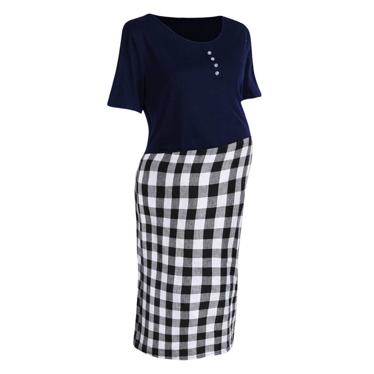 Maternity Dress Checkered Patchwork O Neck Short Sleeve Dress image 4