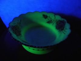 "Antique Vaseline Heisey Custard Glass Large Master Bowl ""Ring Band""  Ros... - $46.66"