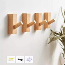 HomeDo Wall Hooks Hat Rack, Wooden Coat Hooks Wall Mounted, Decorative Hooks Sin image 3