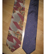 LOT / 2 Mens CHRISTIAN DIOR NECK TIE Both Prints& Silk Purple Gray Blue ... - $14.89