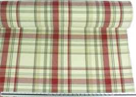 Tartan Check Wool Look and Feel Cream Red Upholstery Fabric Material *3 ... - $2.98+