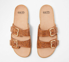 Earth Perforated Leather Slide Sandals- Sand Antigua Alpaca 6.5 W - $69.29