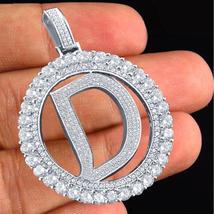 "Alphabet ""D"" Pendant Round Cut Diamond 14k White Gold Plated 925 Sterling Silver - $144.90"