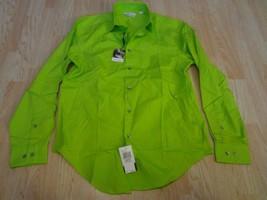 "Men's Calvin Klein 15.5"" Neck 32""-33"" Sleeve L/S Slim Fit Polo Dress Shirt Green - $37.39"