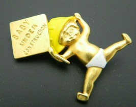 DANECRAFT Pregnancy Baby Under Construction Enamel Gold Tone Pin Brooch ... - $24.74