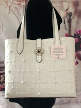 Kate Spade Nwt Kaci Spade Flower Embossed Small Tote Bag Optic White Leather - $220.00