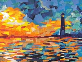 LIGHTHOUSE, Original collage by Akimova, seascape, sea, sunset - $17.00