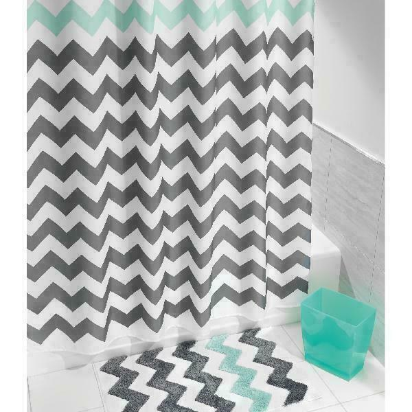 "Interdesign Chevron Fabric Shower Curtain, Standard 72"" X 72"", Gray/Aruba"