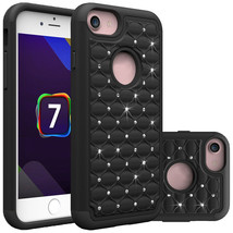 Bling Hybrid Armor Dual Layer Protective Case for iPhone 7 4.7inch - Black  - $4.99
