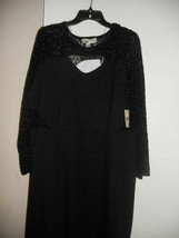 Derek Heart Plus Black long sleeve lace mock neck polyester sheath dress... - $15.00