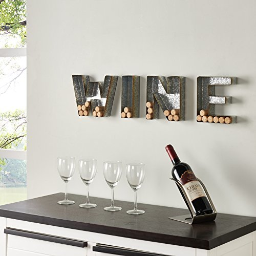 Danya B. HG11415 Wall Mount Decorative Galvanized Metal Art Wine Letters Cork Ho
