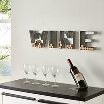 Danya B. HG11415 Wall Mount Decorative Galvanized Metal Art Wine Letters Cork Ho image 1