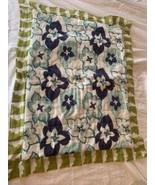 Anthropologie Standard Shams Floral Reversible 100% Cotton Blue Green Qu... - $74.80