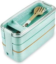 Lunch Box Bento Box,Iteryn 3-In-1 Compartment - Wheat Straw Green - $24.99