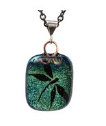 Fused Dichroic Glass Green Dragonfly Pendant Sterling Bail 18 Inch Chain - $55.00