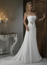 Pleat Chiffon Beach Wedding Dresses at Bling Brides Bouquet - Online Bri... - $399.99