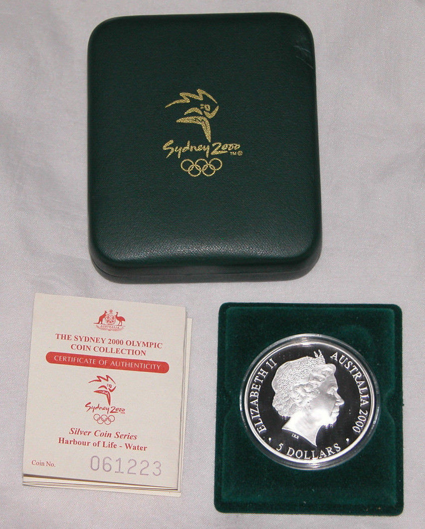 Primary image for 2000 $5 Sydney Olympics Series Harbour of Life - Water, Silver Proof Coin w/COA