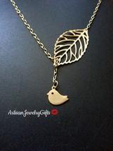 Matte Gold Bird Necklace Skeleton Leaf Lariat Necklace Valentines Day Gi... - $32.00+