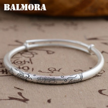 BALMORA 990 Pure Silver Vintage Double Fishes Lotus Bracelets Bangles fo... - $29.41