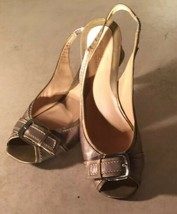 Cole Haan Womens Slingback Peep Toe Pumps Buckle Accent Gold Leather Size 8.5 B - $4.55