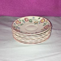 8 Fine English Tableware Saucers Churchill Staffordshire Pink Briar Rose... - $27.71