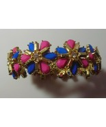 Pink & Blue Faceted Glass Bead Floral Rhinestone Stretch Bracelet  - $34.65