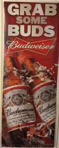 Budweiser Beer Grab Some Buds 2 Sided Vinyl Sign Collectible Man Cave - $56.10