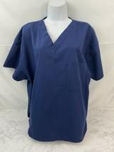 Dickie's Brand Short Sleeve Scrub Top Womens XL Dark Blue V Neck Pockets P1 - $13.16
