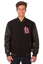 St Louis Cardinals Wool & Leather Reversible Jacket with 2 Front Logos Black - $219.99