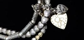 3 Strand Stretch Heart Design Bracelet Vintage Silver Tone - $16.19