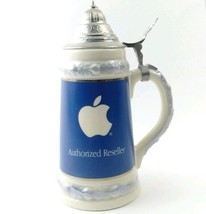 """Apple Computer Beer Stein  Authorized Reseller Inacom Blue White 9"""" w Li... - $83.59"""