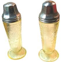 Hazel Atlas Florentine #2 Yellow / Topaz / Canary Salt and Pepper Shakers - $69.96
