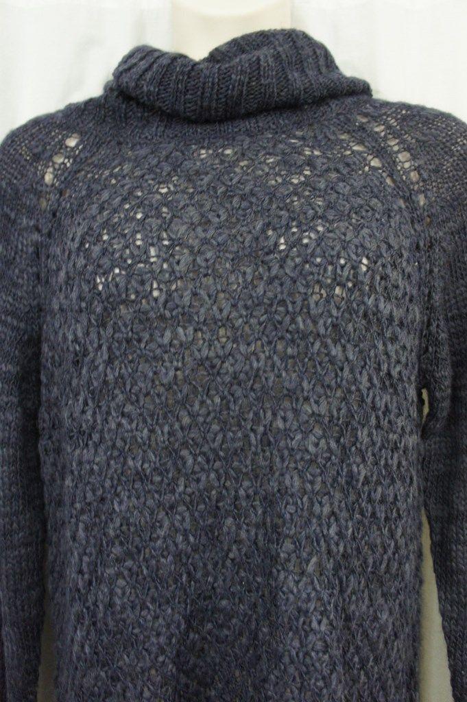Sanctuary Sweater SZ L Tanzanite Blue Cozy Tunic Turtleneck Knit Sweater