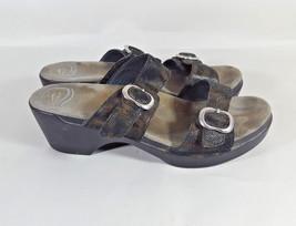 Dansko Sophie sandals 2 strap copper black snake embossed wedge 41 10.5 11 - $37.39