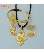 Anniyo Ethiopian Cross Jewelry Set Gold Color Pendant Chain/Earrings/Rin... - $17.09