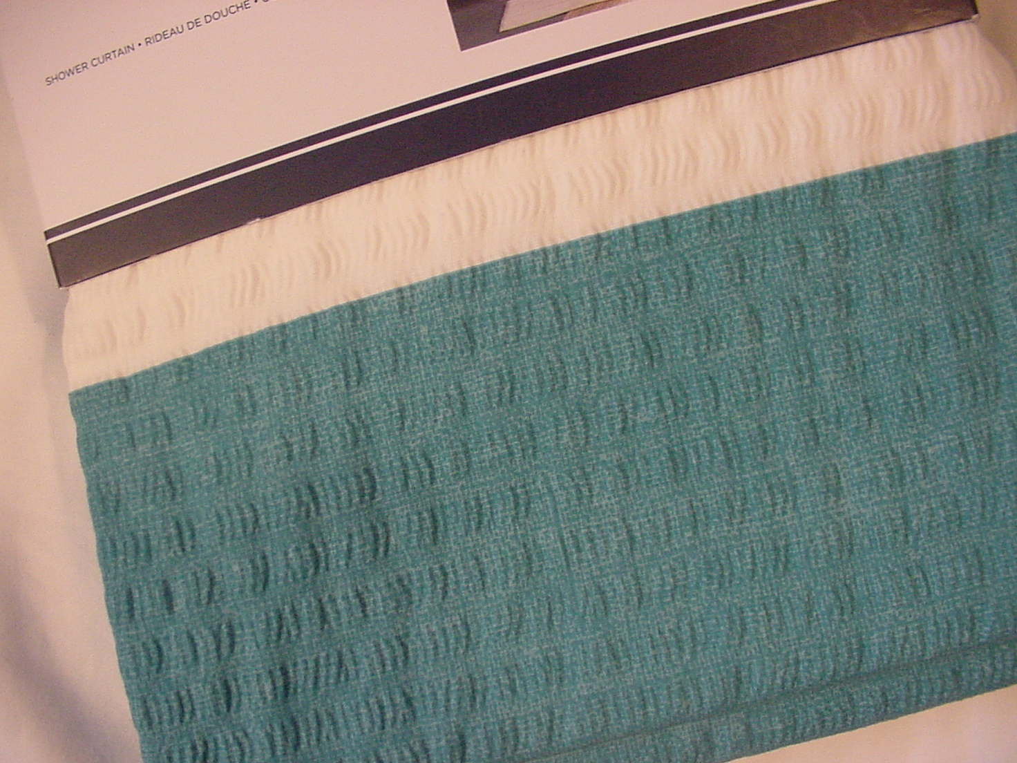 Tommy Hilfiger Cabana Stripe Seersucker Turquoise and White Shower Curtain