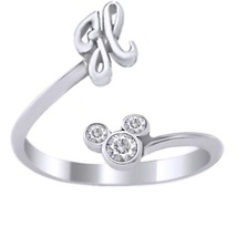Round Cut CZ Disney Mickey Mouse Initial H Ring 14k White Gold Plated 925 Silver - $24.96